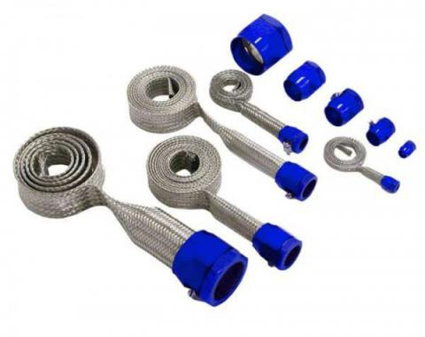 Chevy Hose Cover Kit, Universal, Stainless Steel, With Blue Clamps