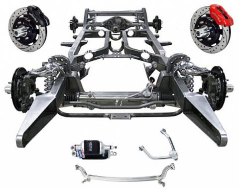 """Chevy Custom Modern Chassis, Upgrades -  Ridetech ShockWave, 13"""" Wilwood Brake, Polished SS Arms & Bars, 1955-1957"""