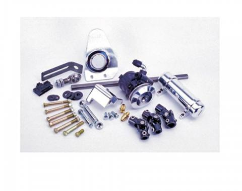 Flaming River 1957 Chevy Power Rack & Pinion Cradle Kit - Paintable Floor Shift Column