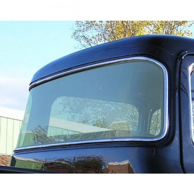 Rear glass, big back curved glass laminated - 1956 Ford Truck, F-series - Green tint