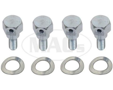 Hood Hinge Shoulder Bolts With Wave Washers, 8-Piece, 1939-1947