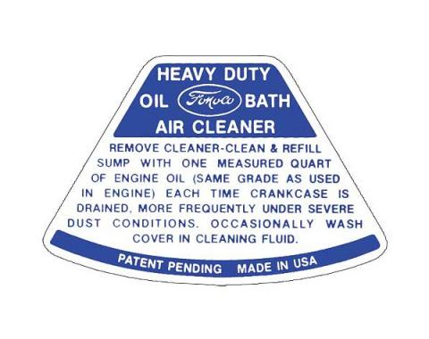 Ford Pickup Truck Air Cleaner Decal - Service Instructions