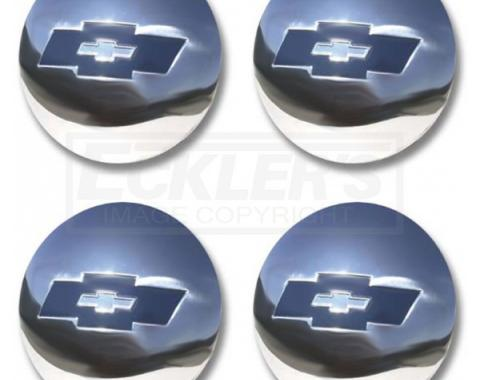 Chevy Truck Hub Cap Set, Polished Stainless Steel, With Blue Painted Details, 1954-1955