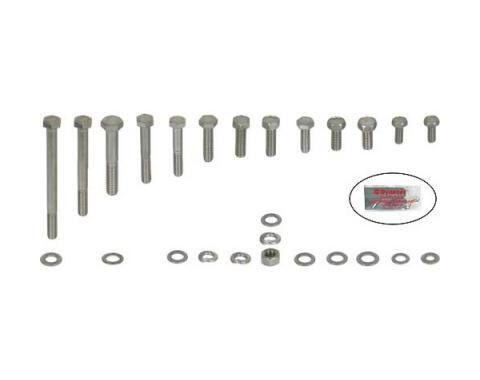 Ford Pickup Truck Engine Hardware Kit - Original Style - Stainless Steel - 351M V8 With Stock Valve Covers