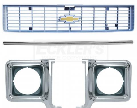 Chevy Truck Front Grille Kit, With Argent Silver Grille, 1973-1974