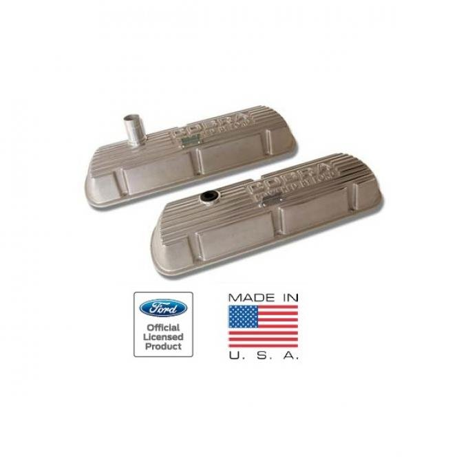 Cobra Valve Covers, Outlined Letters, Polished Aluminum, Small-Block Ford Without EFI