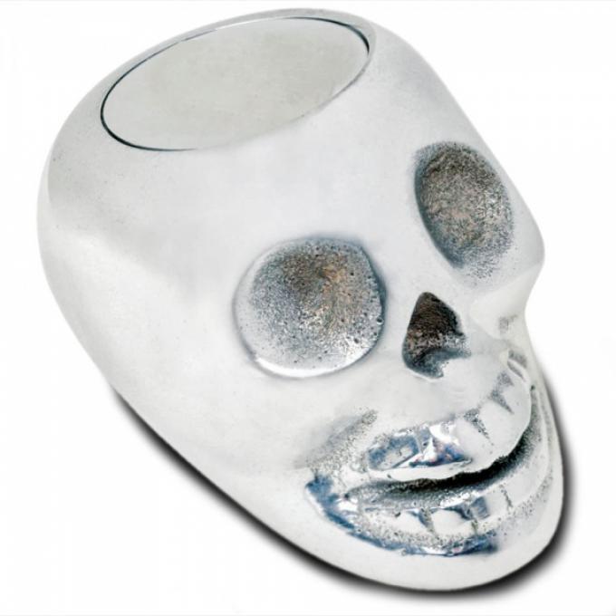 Shift Knob, Lokar, Polished Aluminum Skull, Plain Push Button, Universal Automatic Transmission