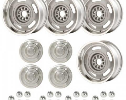 Rally Wheel Kit, 1-Piece Cast Aluminum With  Plain Flat (No Lettering)  Center Caps, Staggered 17x8 And 17x9