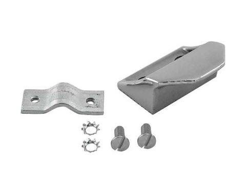 Trunk Lid Striker Plate - Polished Stainless Steel - Includes Mounting Bracket & Hardware - 41 All Ford Passenger Cars & 42-48 Ford Sedans