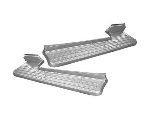 Ford Pickup Truck Short Bed Running Boards - Stamped Steel With Ribs - Only Correct For 6' Short Bed