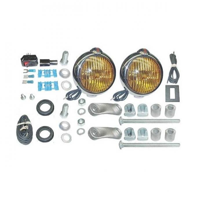 Fog Lamp - 6 Volt - Chrome - Amber Lens - Ford Script