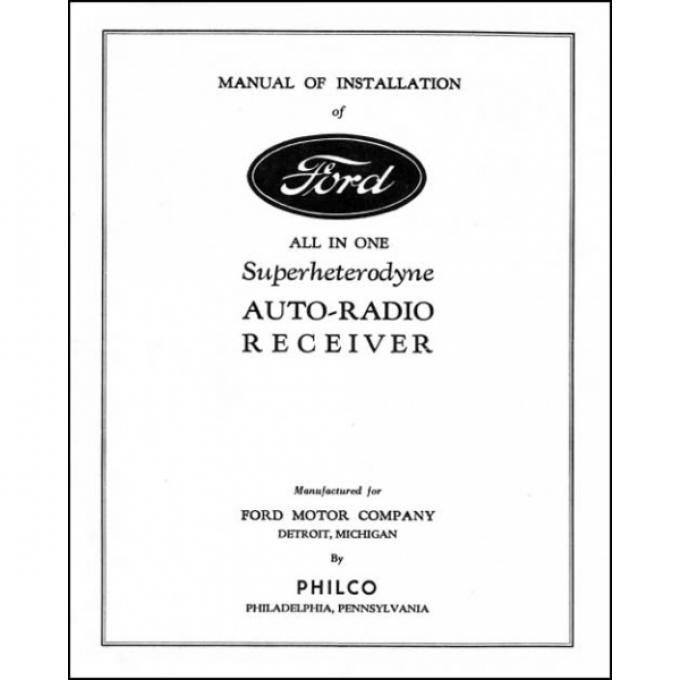 Radio Installation Handbook - Ash Tray Radio - Ford