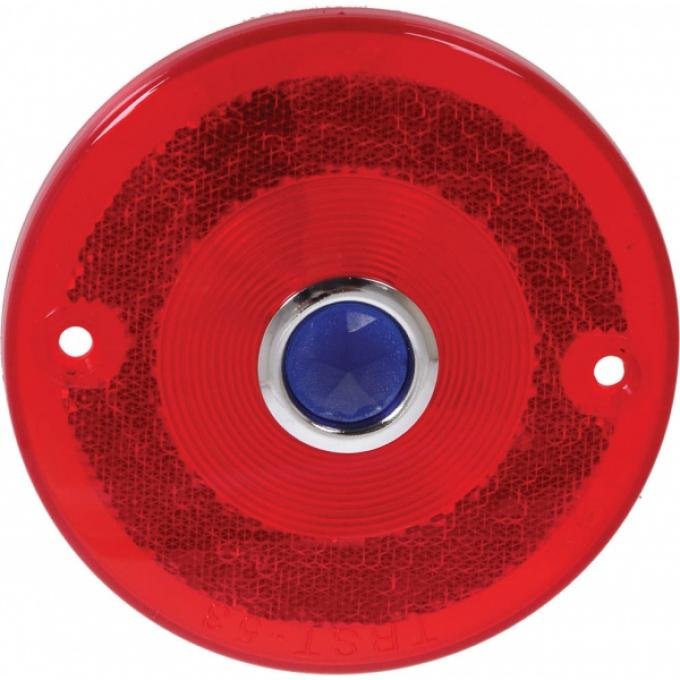 Ford Pickup Truck Tail Light Lens - Round - Red Glass With Blue Dot Glass - Pickup