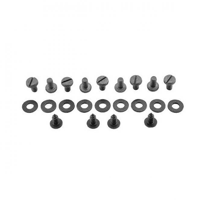 Floor Pan Screw & Washer Kit - For Metal Transmission Cover- 22 Pieces With Battery Cover Plate - Ford