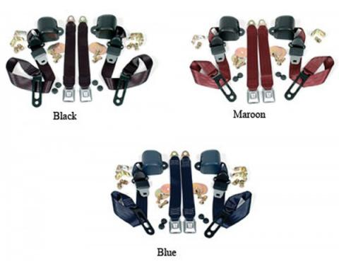 Chevy & GMC Truck Seat Belt Kit, Three Point, For Bench Seat, With Retractors, 1968-1987