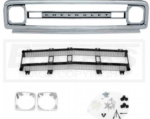 Chevy Truck Front Grille Kit, With Black Insert, Show Quality, 1969-1970
