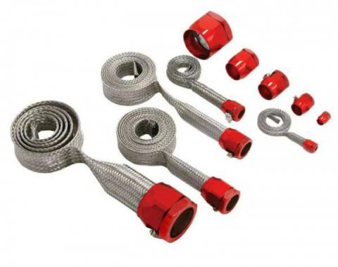Chevy Hose Cover Kit, Universal, Stainless Steel, With Red Clamps
