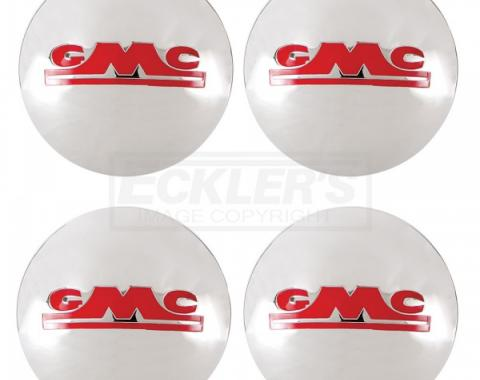 GMC Truck Hub Cap Set, Polished Stainless Steel, With Red Painted Details, 1947-1953