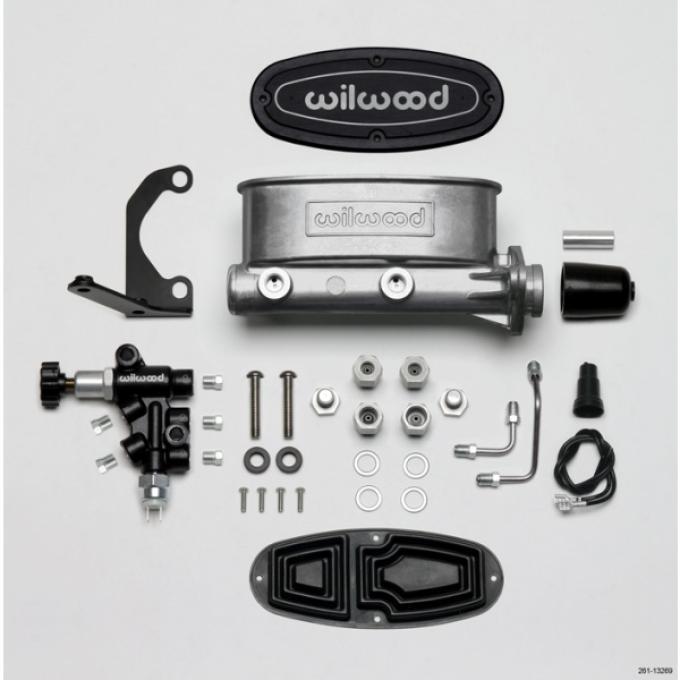 "Chevy Wilwood Master Cylinder Kit, Bare Aluminum Tandem, with Bracket & Valve, 1.0"" Bore 1955-1957"