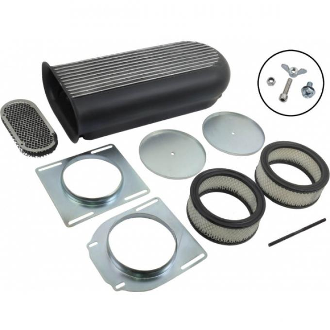 Full-Finned Aluminum Air Scoop, Hilborn Style, 2 Or 4-Barrel, Black Finish