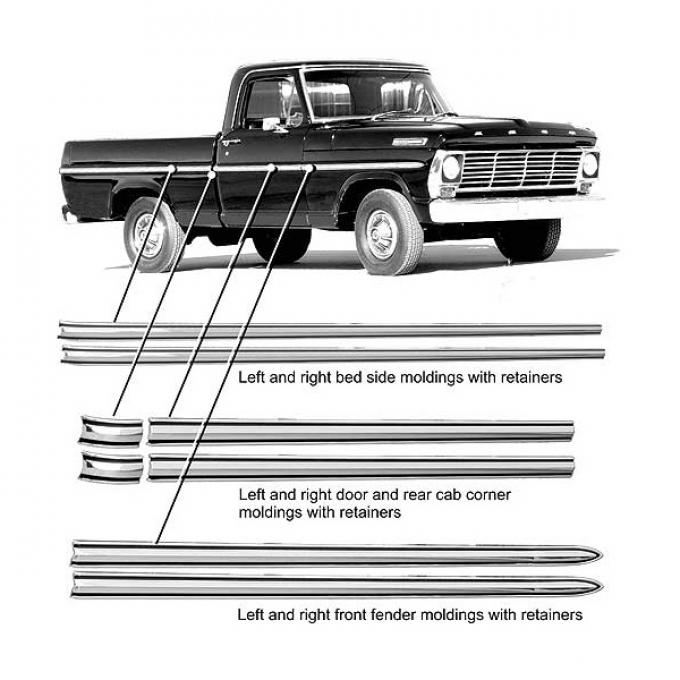 Ford Pickup Truck Body Side Moulding Kit - 1-1/4 Wide - 2 Black Painted Stripes - F100 & F250 With 8' Bed