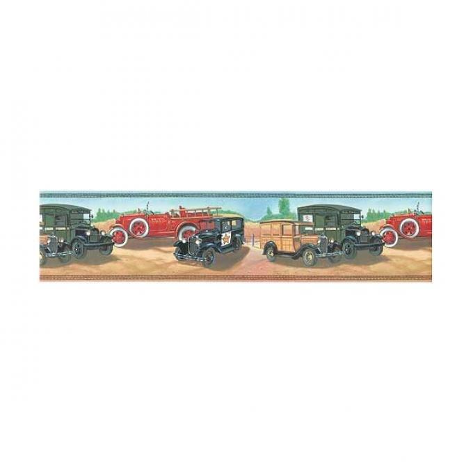 Wall Border - Commercial Trucks - Pre-Pasted Vinyl Wallpaper - 15' Long X 6.875 High