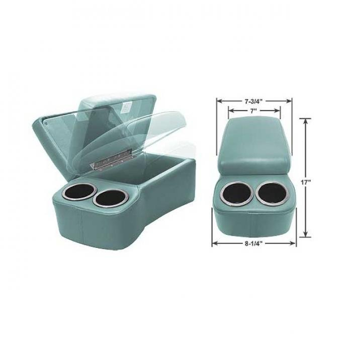 """BD Drinkster Seat Console - 17"""" x 8-1/4"""" - Turquoise"""