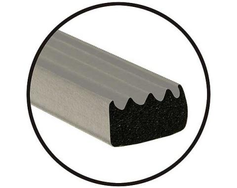 Rubber Hood Lacing - Solid Rubber - Ribbed Surface - Adhesive Back - 5/8 Wide X 3/8 Thick X 8' Length - Ford & Mercury