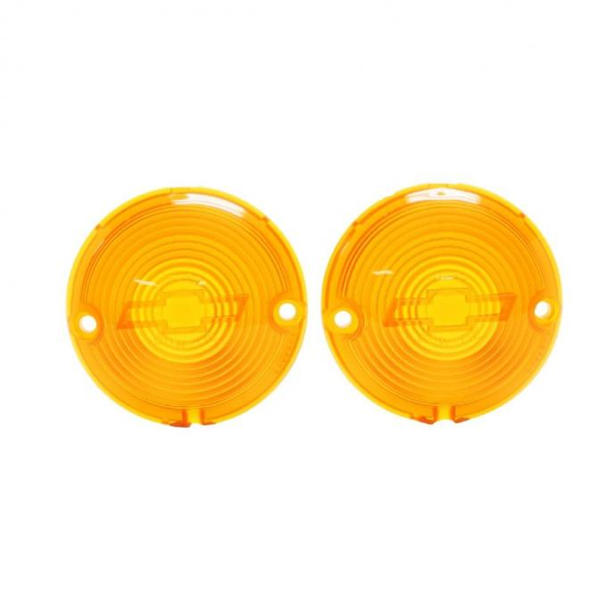Trim Parts 57 Full-Size Chevrolet Amber Parking Light Lens with Bowtie, Pair A1484