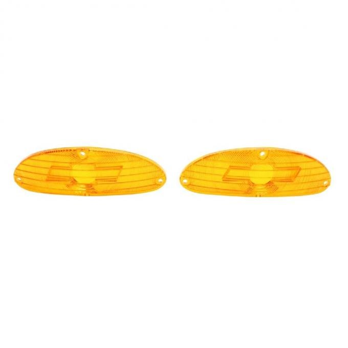 Trim Parts 55 Full-Size Chevrolet Amber Parking Light Lens with Bowtie, Pair A1026