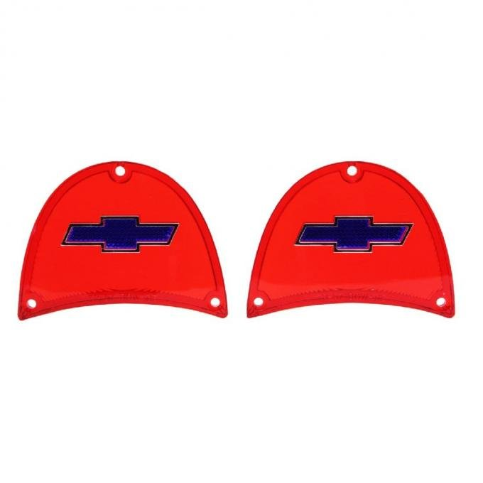 Trim Parts 57 Full-Size Chevrolet Red Tail Light Lens with Blue Bowtie and Chrome Trim, Pair A1480B