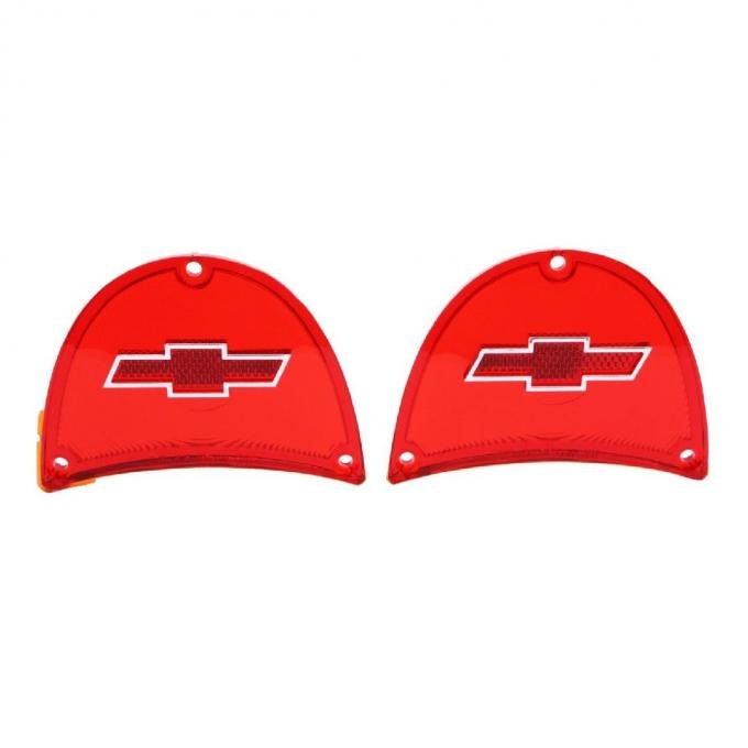 Trim Parts 57 Full-Size Chevrolet Red Tail Light Lens with Chrome Bowtie, Pair A1479C