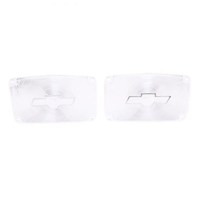 Trim Parts 56 Full-Size Chevrolet Clear Parking Light Lens with Chrome Bowtie, Pair A1387C
