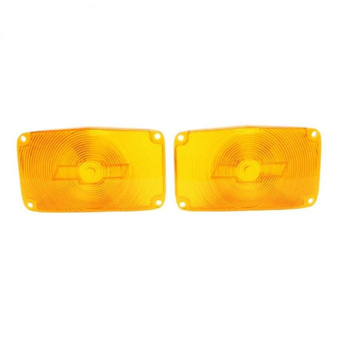 Trim Parts 56 Full-Size Chevrolet Amber Parking Light Lens with Bowtie, Pair A1386