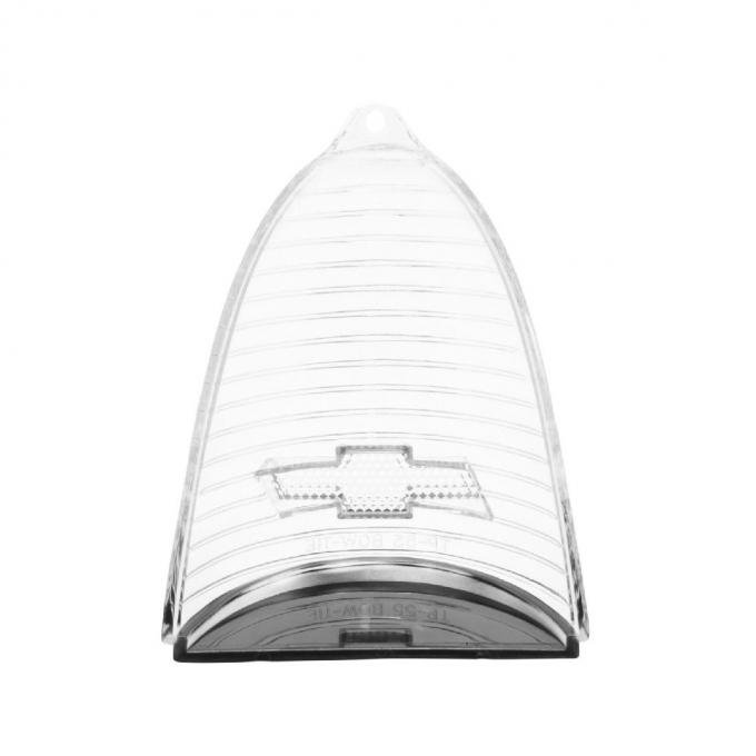 Trim Parts 55 Full-Size Chevrolet Clear Tail Light Lens with Chrome Bowtie, Pair A1019C-CLEAR