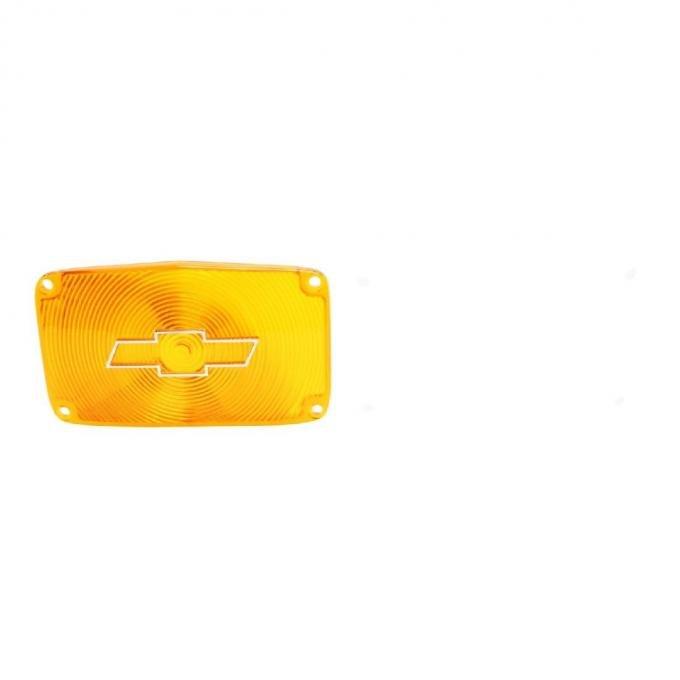 Trim Parts 56 Full-Size Chevrolet Amber Parking Light Lens with Chrome Bowtie, Pair A1386C
