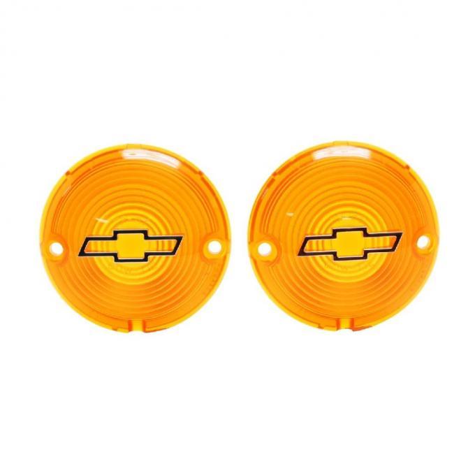 Trim Parts 57 Full-Size Chevrolet Amber Parking Light Lens with Chrome Bowtie, Pair A1484C