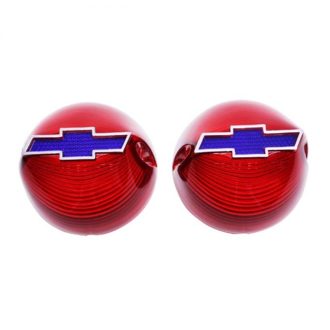 Trim Parts 56 Full-Size Chevrolet Red Tail Light Lens with Blue Bowtie and Chrome Trim, Pair A1380B