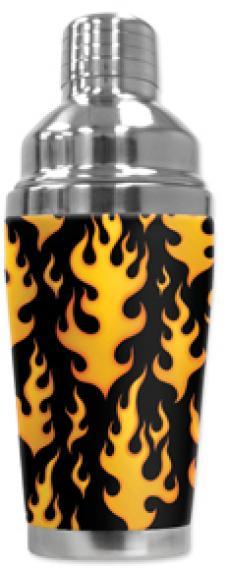 Mugzie Cocktail Shaker, Hot Or Cold, Black Flames