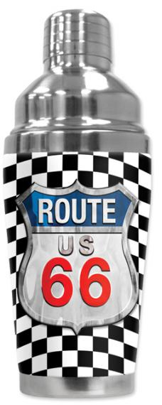 Mugzie Cocktail Shaker, Hot Or Cold, Checkered Flag Route 66