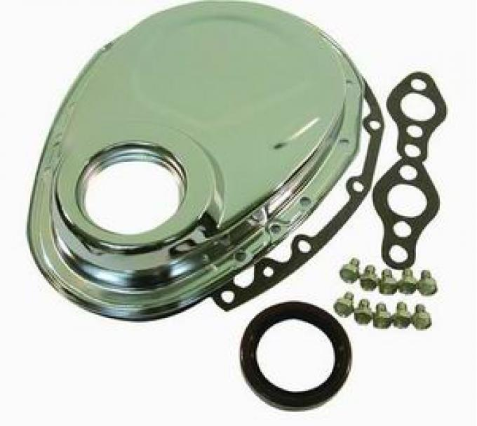 RPC Racing Power Company R4934, Timing Cover, Stamped Steel OEM Style, Chrome Plated, Steel, With Gasket
