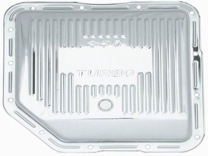 RPC Racing Power Company R9122, Auto Trans Oil Pan, For Use With GM TH350 Transmissions, Stock Capacity, Finned, Chrome Plated, Steel, With Drain Plug