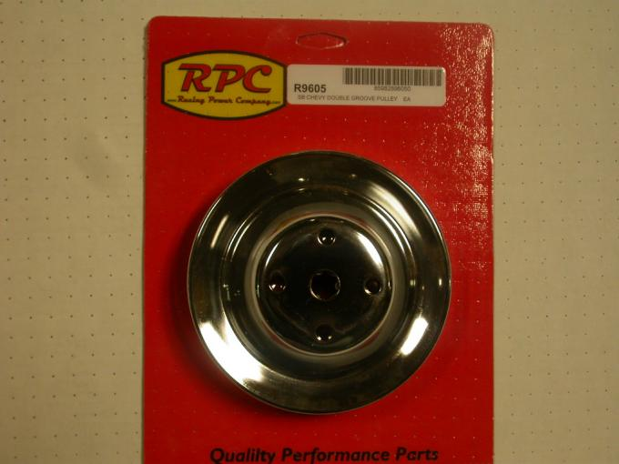 RPC Racing Power Company R9605, Water Pump Pulley, 1965-1985 Small Block Chevy 283-400, Long, Dual Groove, 6.30 Inch Diameter, Chrome Plated, Steel
