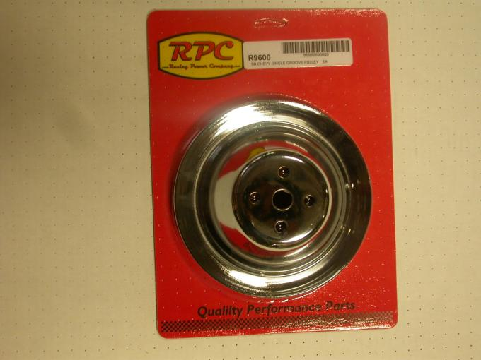 RPC Racing Power Company R9600, Water Pump Pulley, 1955-1968 Chevy 283-400, Short, Single Groove, 7.10 Inch Diameter, Chrome Plated, Steel