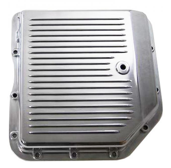 RPC Racing Power Company R8491, Auto Trans Oil Pan, For Use With GM TH350 Transmissions, Stock Capacity, Finned, Polished, Aluminum, With Drain Plug
