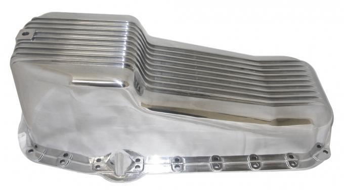 RPC Racing Power Company R8442, Oil Pan, For Use With Small Block Chevy 283-350, 2 Piece Rear Main, Street, 4 Quart, Drivers Side Dipstick, Polished, Aluminum, Finned, With Drain Plug/Bolts