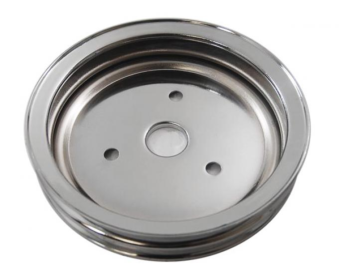 RPC Racing Power Company R9603, Crankshaft Pulley, For Use With 1955-1968 Small Block Chevy 283-400 Engines, Dual Groove, 7.30 Inch Diameter, Short Water Pump, Chrome Plated, Steel
