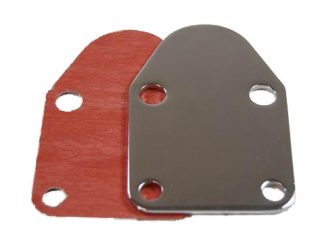 RPC Racing Power Company R2057, Fuel Pump Block Off Plate, Small Block Chevy 283-400, Chrome Plated, Steel, With Gasket
