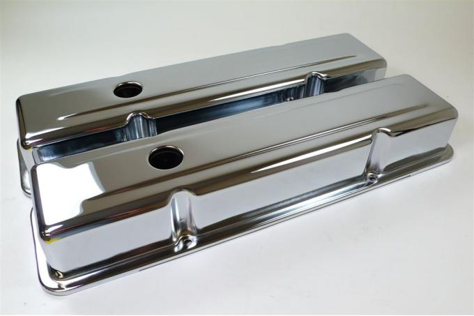 RPC Racing Power Company R9216, Valve Cover, For Use With 1958-1986 Small Block Chevy 283/305/327/350 Engines, 2-5/8 Inch Height, 4 Bolt Holes, With Oil Fill Hole, Chrome Plated, Steel, Set Of 2