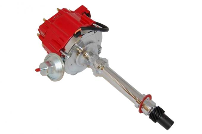 RPC Racing Power Company R3925, Distributor, Pre 1987 Chevy V8 Small and Big Block/ Non Computer Controlled Ignitions, 5.5 Inch Diameter Red Cap With HEI/ Brass Terminals, CNC Machined Housing, With Built In 50,000 Volt Coil/ Adjustable Vacuum Advance